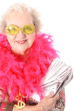 Grandmother who won lotto. Isolated on white Royalty Free Stock Photo
