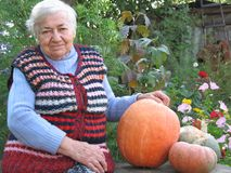 Grandmother With Pumpkins Royalty Free Stock Photography