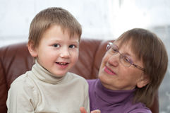 Grandon with his granny Royalty Free Stock Photography