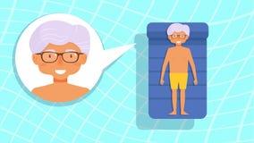 Grandpa в бассейне Стоковая Фотография RF