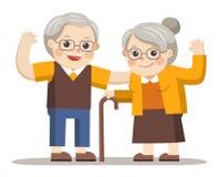 Grandpa и бабушка стоя совместно иллюстрация вектора