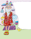 Grandpa с носком прачечной ванная комната для стиральной машины он забыл его карманн дизайн штопора для школы и duidattica Стоковая Фотография