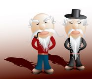 Grandpa buddies. Layered and grouped illustration for easy editing Stock Image