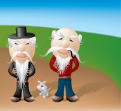 Grandpa buddies and pet. Grandpa buddies, layered and grouped illustration Royalty Free Stock Photos