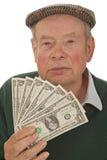 Grandpa con los dólares Fotografía de archivo