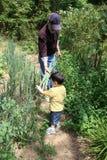 Grandpa de ayuda del muchacho en el jardín fotos de archivo