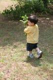 Grandpa de ayuda del muchacho en el jardín foto de archivo libre de regalías