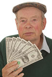 Grandpa with Dollars Stock Photography