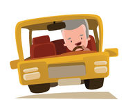 Grandpa driving a car  illustration cartoon character Royalty Free Stock Image