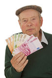 Grandpa with Euros Royalty Free Stock Images