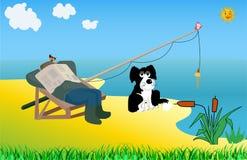 Grandpa fishing with dog. Rex stock illustration
