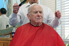 Grandpa gets a haircut Royalty Free Stock Image