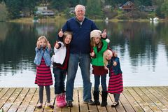 Grandpa and Grandchildren Royalty Free Stock Images