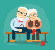 Grandpa and grandma cuddling sitting on the bench vector illustration