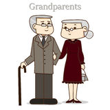 Grandpa and grandma in formal dress suit. Royalty Free Stock Photos