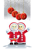 Grandpa and Grandma Santa Claus Stock Image