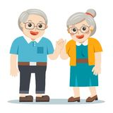 Grandpa and grandma standing together. Two old persons man and woman of retirees vector illustration