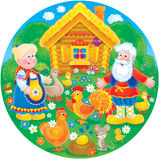 "Grandpa, grandma and their farm. High resolution illustration of the folktale ""Golden egg Royalty Free Stock Image"
