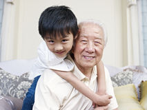 Grandpa and grandson Stock Images