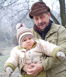 Grandpa and grandson outdoor Stock Photos