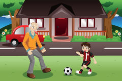 Grandpa and grandson playing soccer stock illustration
