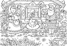 Grandpa and granny. Black-and-white illustration (coloring page): grandfather, grandmother and their hen Stock Photography