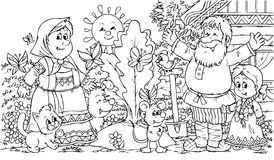 Grandpa and granny. Black-and-white illustration (coloring page): grandfather, grandmother and granddaughter with their domestic animals Stock Image