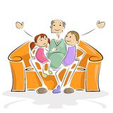 Grandpa with Kids. Vector illustration of granpa sitting with grand child in sofa Stock Images