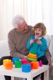 Grandpa and kindergartner Royalty Free Stock Image