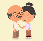 Grandpa kissing Grandma. Elderly couple in love. Eps10 Illustration vector illustration