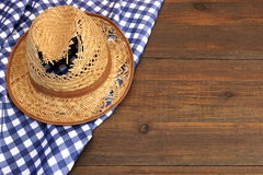 Grandpa Leaky Straw Hat On The Wood Table, Top View Royalty Free Stock Photo