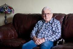 Grandpa looks serious stock photos