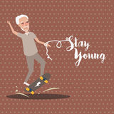 Grandpa play skate board active happy old senior stay young. Vector Stock Image