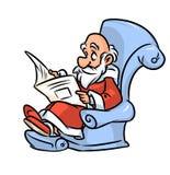 Grandpa Santa Claus reading  newspaper cartoon illustration Royalty Free Stock Image