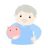 Grandpa save money in piggy bank  Royalty Free Stock Image