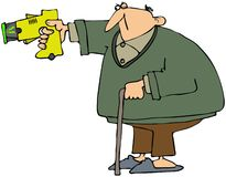 Grandpa With A Stun Gun. This illustration depicts an old man with a cane and aiming a stun gun Royalty Free Stock Photo
