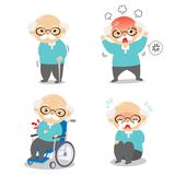 Grandpa in various postures and expressing emotions royalty free illustration