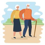 Grandpa with walking stick and senior woman on walkers in city park vector illustration. Old couple spend time together. Vector cartoon illustration of Grandpa Royalty Free Stock Images