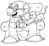 Grandpa y gatito Imagen de archivo libre de regalías