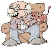 Grandpa y gatito Imagen de archivo