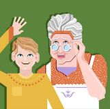 Grandparent and children standing together and pose for a photo. Grand mother standing with grandson Vector Illustration