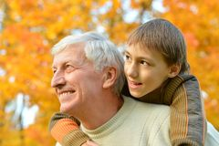 Grandparent and kid Stock Photography