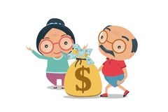 Grandparent, Old senior man and woman happy retirement get rich. In flat style isolated on white background, vector and illustration vector illustration