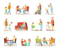 Grandparent spending time with grandchildren set, grandma and grandpa playing, walking, reading books, having dinner. With grandchildren vector Illustrations royalty free illustration