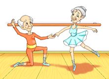 Grandparent to lesson of dance Stock Images