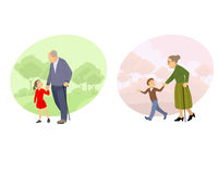 Grandparent walking with offspring. Vector illustration of a grandparent walking with offspring Stock Photo