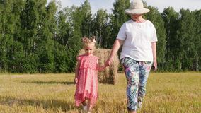Grandparent walks with granddaughter in the meadow. Grandmother holds the arm of granddaughter while walking in the meadow in summer evening stock footage