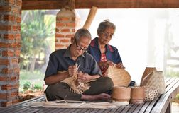 Grandparent weave bamboo Asia Lifestyle. Countryside Stock Photos