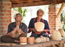 Grandparent weave bamboo Asia Lifestyle. Countryside Royalty Free Stock Photos