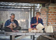 Grandparent weave bamboo Asia Lifestyle. Countryside Stock Image